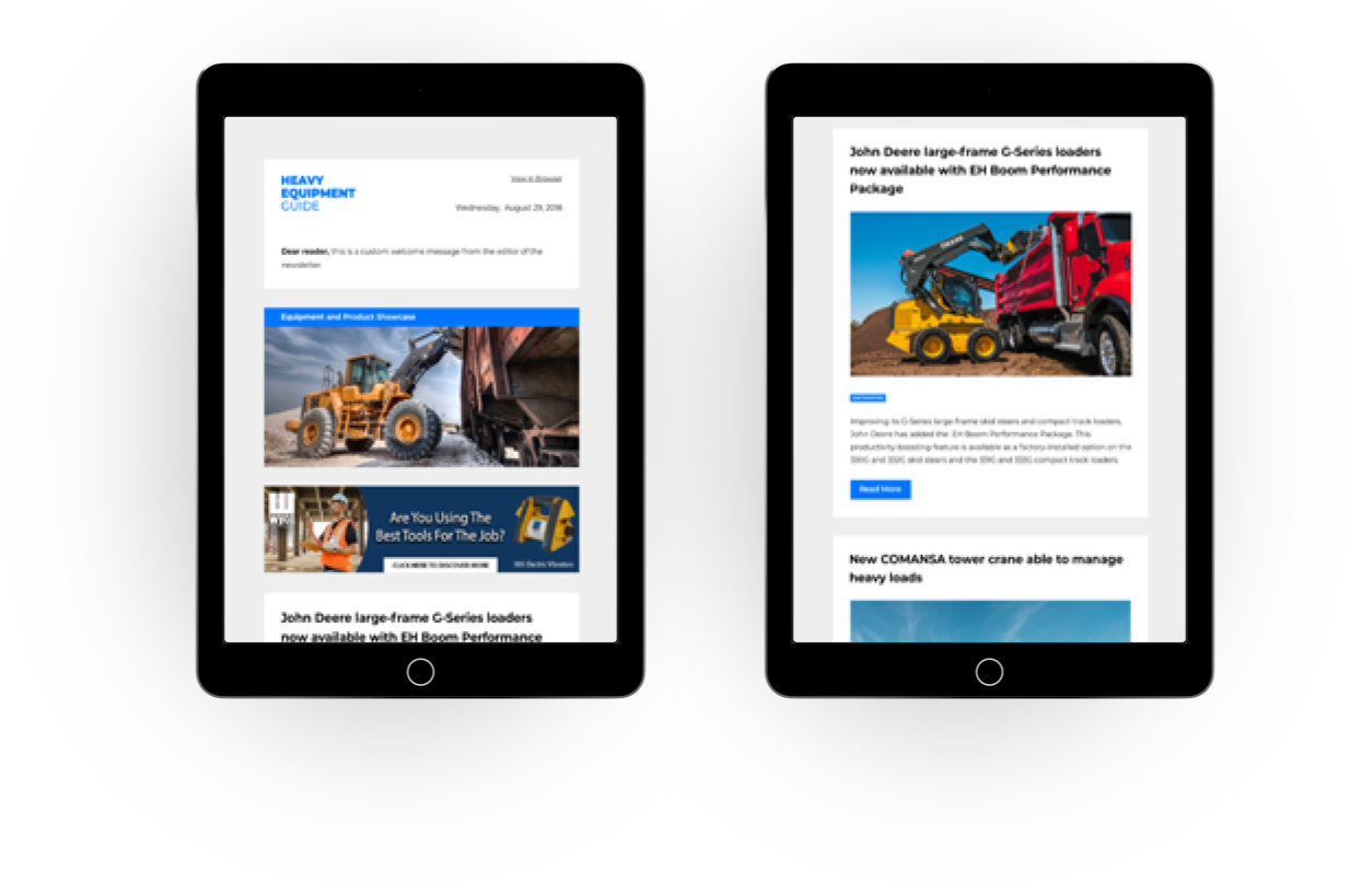 The Heavy Equipment Guide digital newsletter on iPad